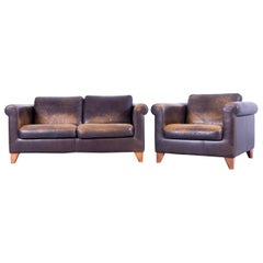 Machalke Designer Two-Seat Sofa Set and Armchair Leather Brown Couch Modern