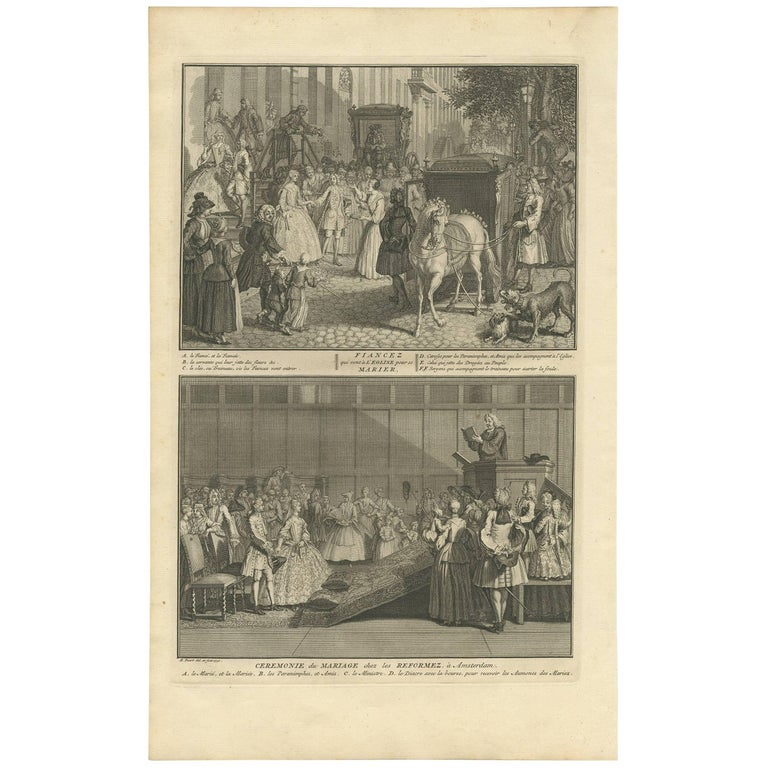 Antique Print of Marriage Ceremonies in Amsterdam 'The Netherlands' by B. Picart
