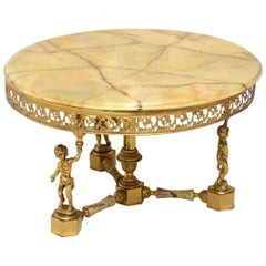 Antique Brass and Onyx Round Coffee Table