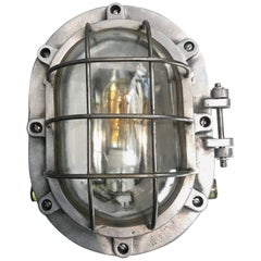 Extra Large British Industrial Aluminium Bulkhead Light, Glass Dome & Steel Cage