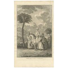 Antique Print of an Islamic Emir on a Horse by A. V.D. Laan, 1727