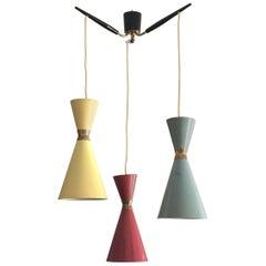 Tri-Color Diabolo Pendant Lamp by Bünte & Remmler, Germany, 1950s