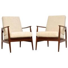 1960s Pair of Vintage Walnut Armchairs