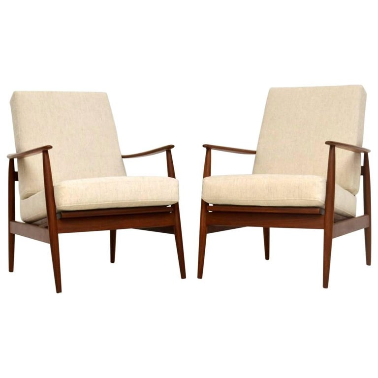 1960s Pair of Vintage Walnut Armchairs