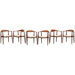 "Six 1949 Brown Teak Set of Hans Wegner ""The Chair"""
