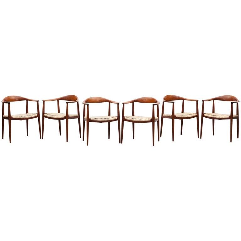 "Six 1949 Brown Teak Set of Hans Wegner ""The Chair"" For Sale"