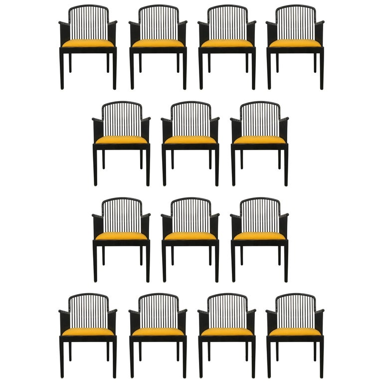"""Set of 14 Yellow Davis Allen """"Andover"""" Chairs for Stendig"""