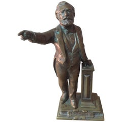 Early 20th Century Signed Bronze Status of French Politian Leon Gambetta