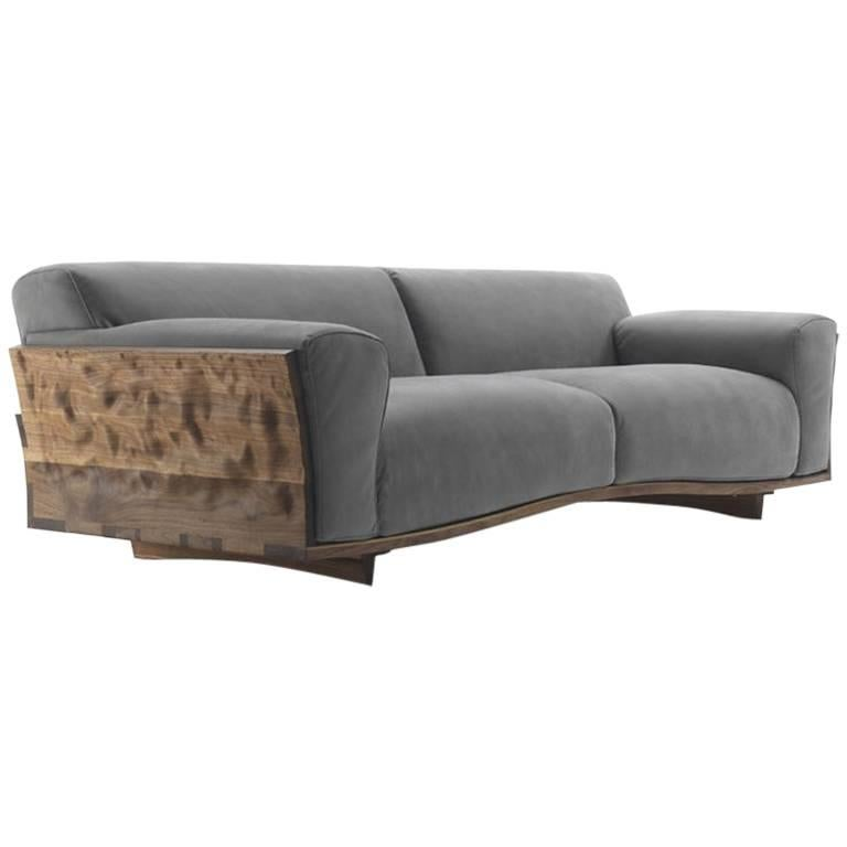 Extreme Wood Sofa in Solid Walnut Wood and Genuine Grey Leather