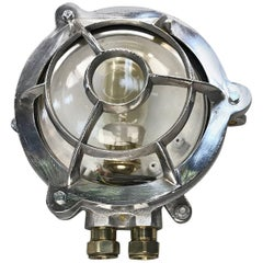 1970s Industrial Aluminium Circular Wall Light, Glass Dome and Edison Bulb
