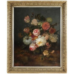 Thiery, Oil on Canvas, French Mid-19th Century Bouquet of Flowers, circa 1869