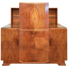Art Deco Cocktail Sideboard in Figured Walnut Veneers