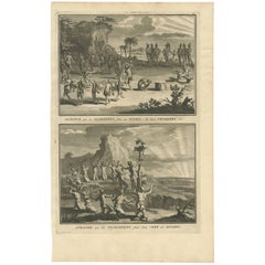 Antique Print of the Floridians Sacrificing to the Sun by B. Picart, 1721