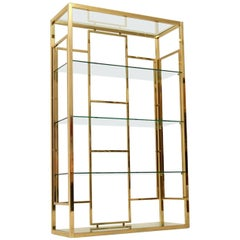 1970s Vintage Italian Brass Bookcase or Display Cabinet