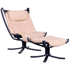 Vatne Møbler Falcon Chair Leather Crème Beige Chrome One-Seat Sigurd Resell