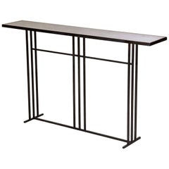 Nico Art Deco Minimal Metal Console Table with Slate and Brass