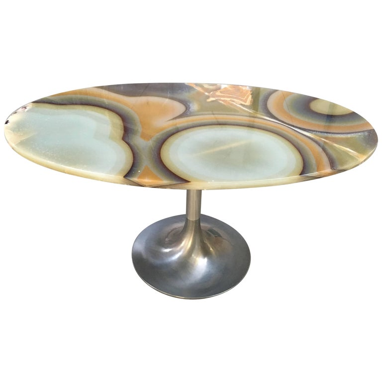 Italian Table with Aluminium base and Onyx Top from 1960s