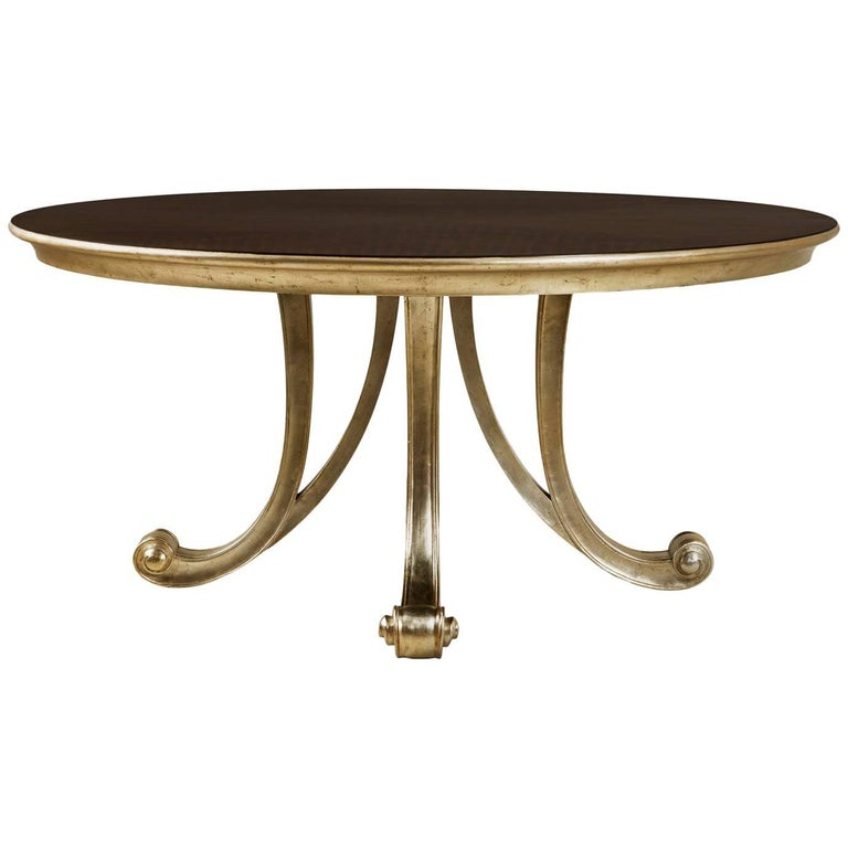 Orcade Round Table in Solid Mahogany Wood and Gold Paint