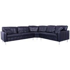 Designer Corner Sofa Leather Black Modern Couch with Metal Feet