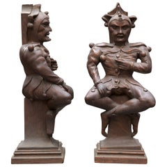 Couple of 19th Century Wooden Jesters on Classic Base