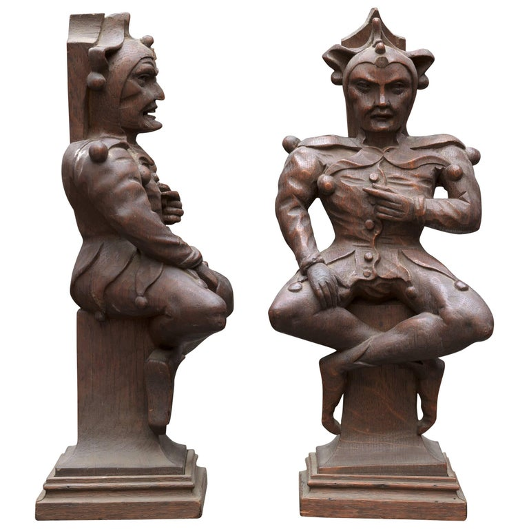 Couple of 19th Century Wooden Jesters on Classic Base For Sale