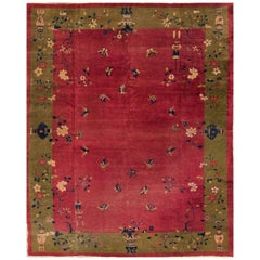 Vintage Distressed Red and Green Chinese Art Deco Carpet