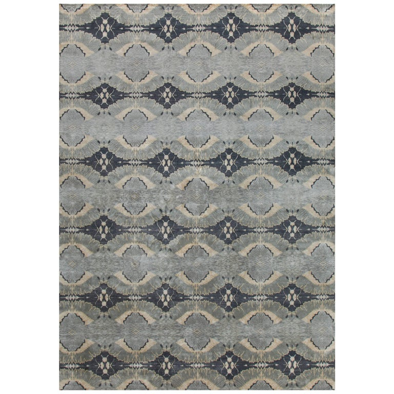 'Orion, Charcoal' Hand-Knotted Tibetan Rug Made in Nepal by New Moon Rugs