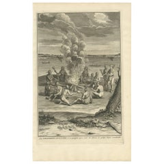 Antique Print of a Gathering Around a Fire in Virginia by B. Picart, 1721