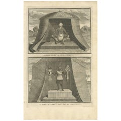 Antique Print of Two Idols of the Virginian Culture by B. Picart, 1721