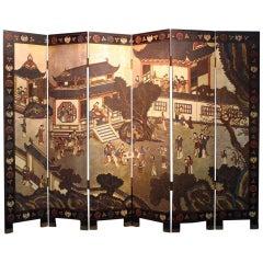Large 19th Century Meiji Period Folding Screen