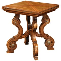 19th Century French Louis XIII Carved Walnut Game Table with Leather and Felt