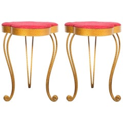Pair of Pier Luigi Colli Gold Iron Clover Stools Red Fabric, Italy, 1950