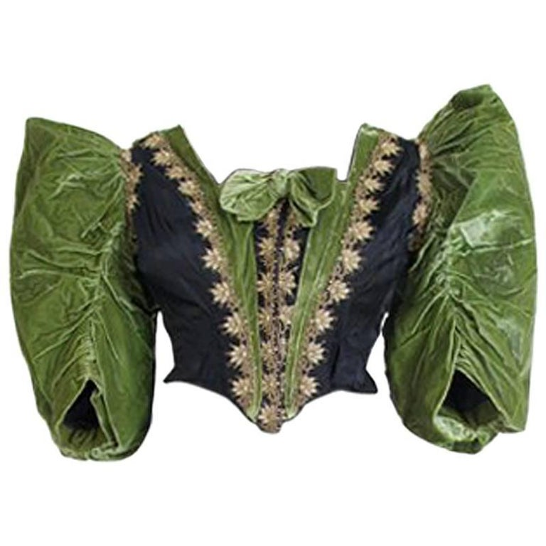 Victorian Silk and Suede Bodice, Germany, 1880s For Sale