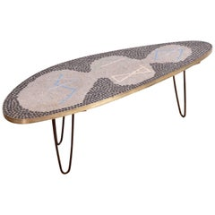 Unique Berthold Muller Mosaic Pinleg Coffee Table