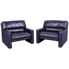 WK Wohnen Designer Armchair Set Leather Black Couch Modern