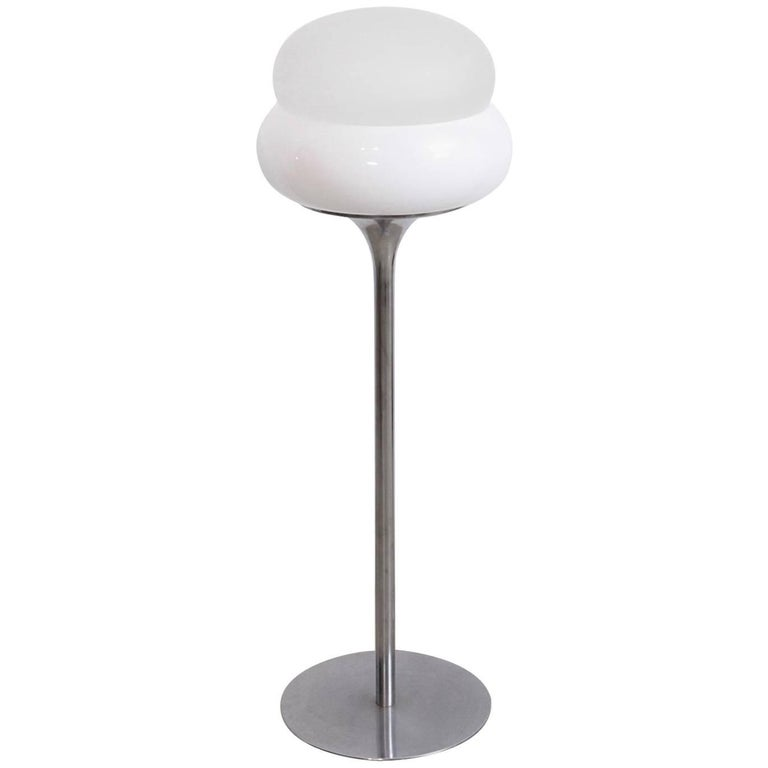 Italian 1970s Floor Lamp with Glass/ Lucite Shade in the Manner of Tobia Scarpa