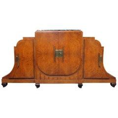 Monumental Jules Leleu Style Art Deco Marble-Top Sideboard Buffet Server C1920s