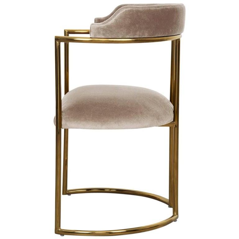 Modern Style Acapulco Dining Chair Brass Frame Sharkskin Velvet Upholstery