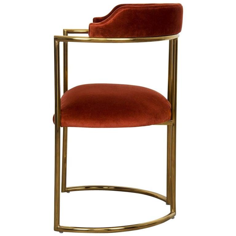 Modern Style Acapulco Dining Chair Brass Frame Paprika Velvet Upholstery For Sale
