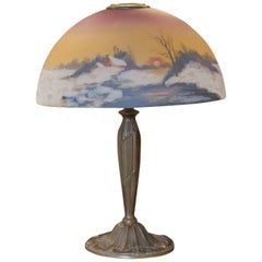 Art Nouveau Reverse Hand-Painted Moe Bridges Style Co. Table Lamp