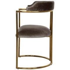 Modern Style Acapulco Dining Chair Brass Frame Dark Grey Velvet Upholstery