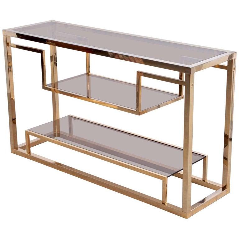 Brass Console Table or Shelf by Romeo Rega