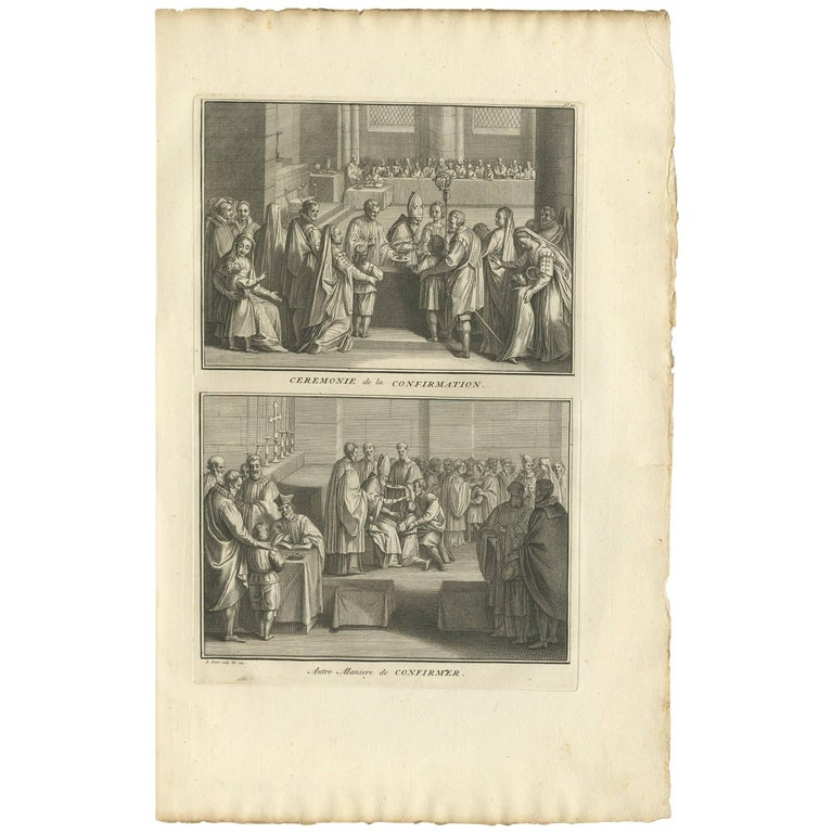 Antique Print Illustrating the Ceremony of Confirmation by B. Picart, 1723