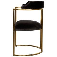 Modern Style Acapulco Dining Chair Brass Frame Black Velvet Upholstery