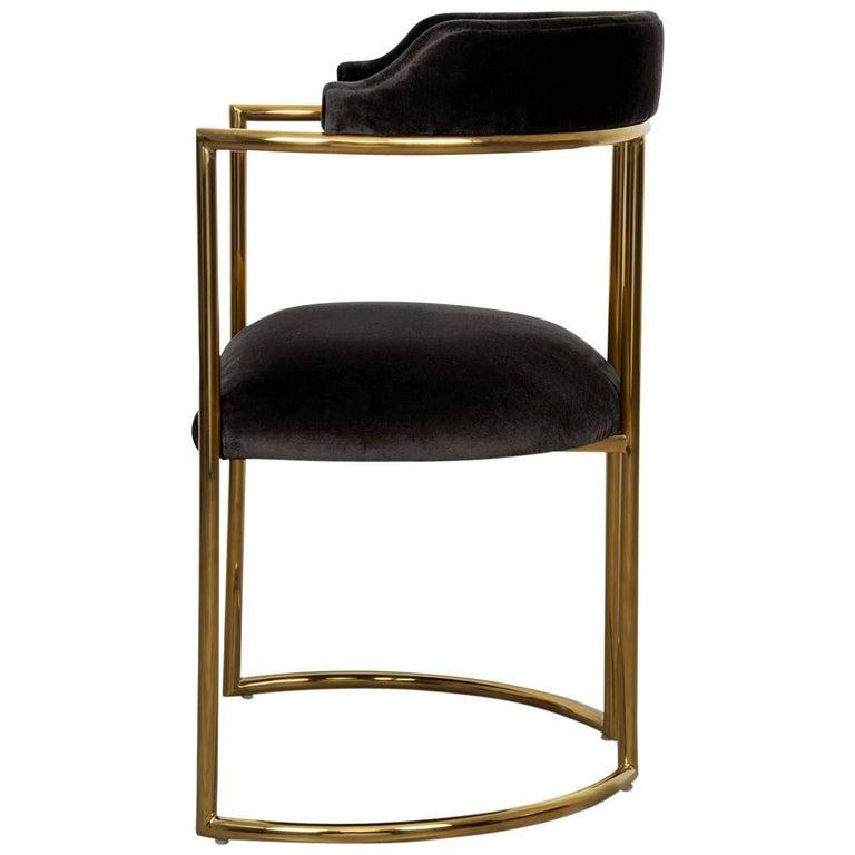 Modern Style Acapulco Dining Chair Brass Frame Black ...