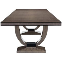 Ebury Dining Table High Gloss Sycamore Stone and Ebonized Block