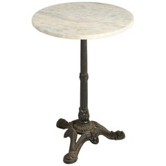 French Bistro Table in a White Marble Top and Cast Iron Base
