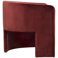 Asymmetric Modern Style Martinique Chair in Lush Bordeaux Velvet Upholstery