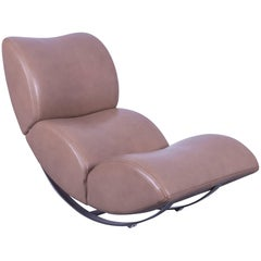 Koinor Jetlag Designer Rocking Chair Beige Crème Leather One-Seat Metal Frame