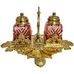 Antique English Ruby Glass and Brass Inkwell